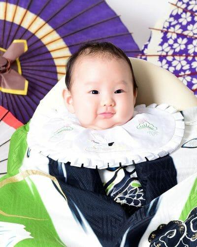 赤ちゃん 男の子 百日祝い 着物 100日祝い 富山 高岡 写真 かわいい はだか 緑