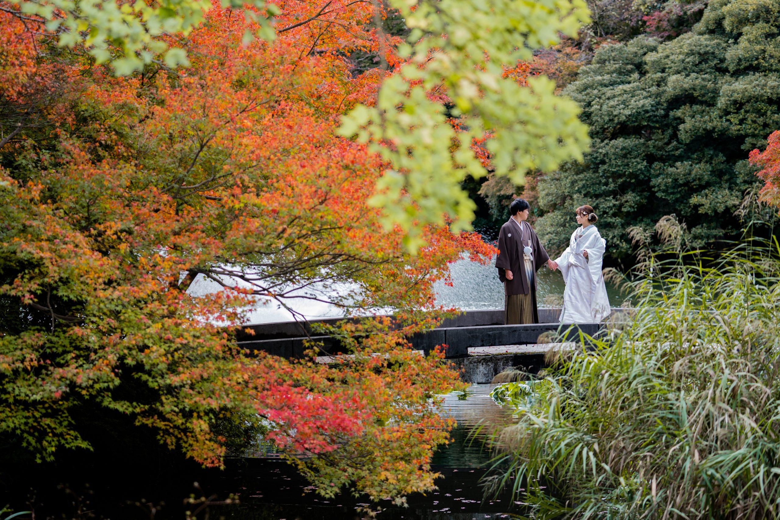 富山県高岡市古城公園の紅葉と新郎新婦の結婚式の前撮りフォトウェディングに撮影へ行ってきました